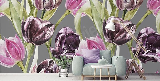 Papier peint tulipes et gouttes de rosée