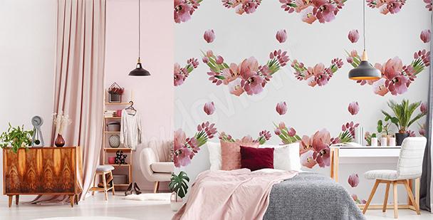 Papier peint tulipes et pivoines