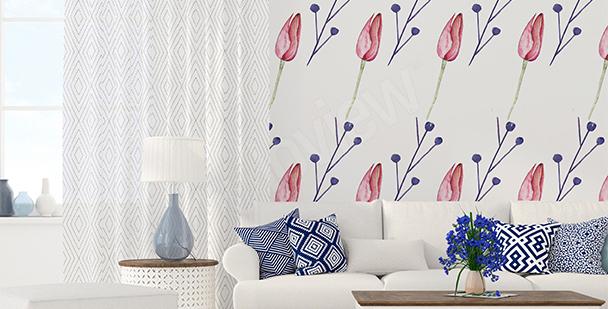 Papier peint tulipes graphiques