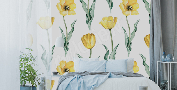 Papier peint tulipes jaunes
