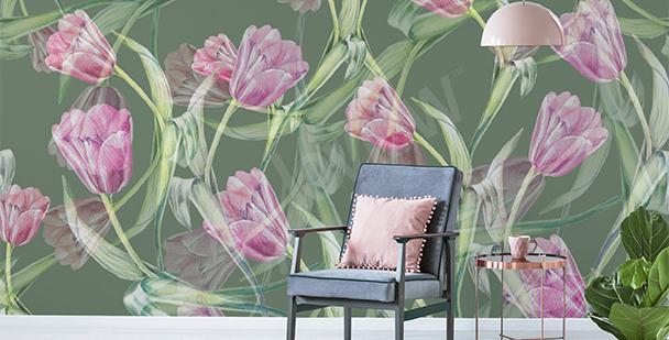 Papier peint tulipes pour salon