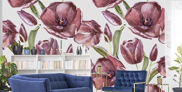 Papier peint tulipes rouges