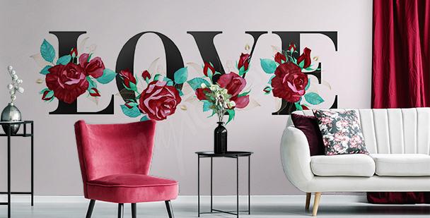 Papier peint typographique romantique