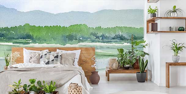 Papier peint verdure version aquarelle