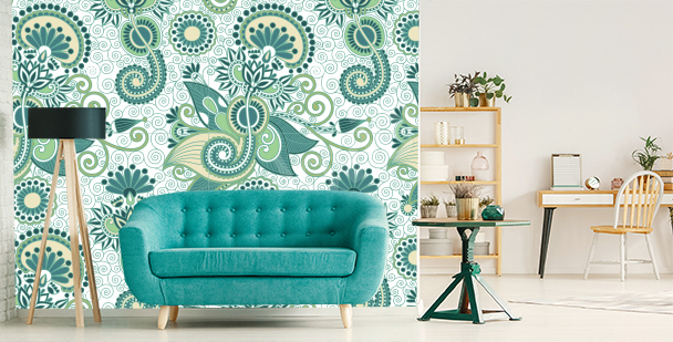 Papier peint vert pour salon