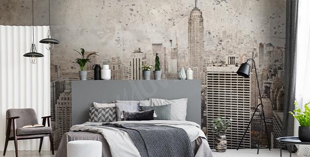Papier peint ville de New York style rétro