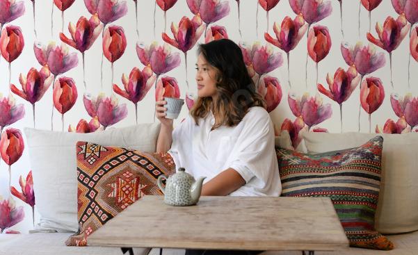 Papiers peints aquarelle tulipes pour la chambre