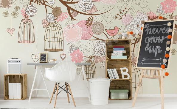 papiers peints pour fille oiseaux et cages