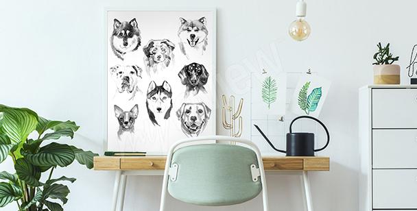 Poster animaux peints à l'aquarelle