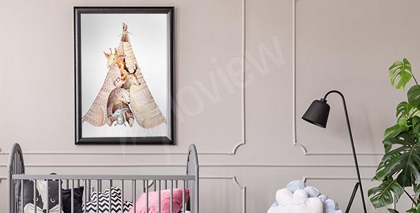 Poster animaux pour chambre d'enfant