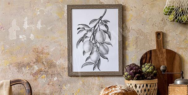 Poster avec branche de citronnier