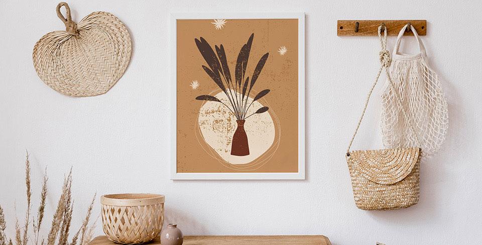 Poster avec des gerbes dans un vase