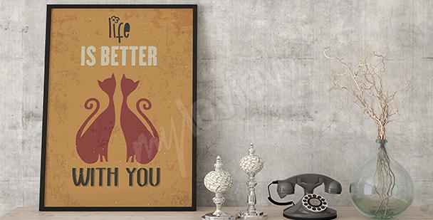 Poster avec deux chats
