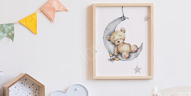 Poster avec un ours sur la lune