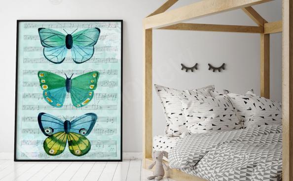 Poster de trois papillon