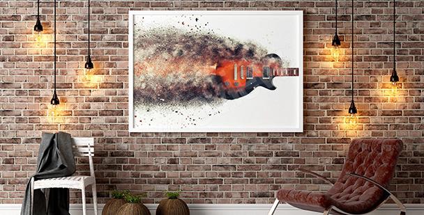 Poster avec une guitare en feu