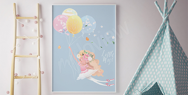 Poster ballerine avec des ballons