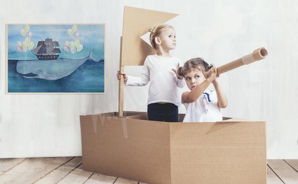 Poster bateau pour chambre d'enfant
