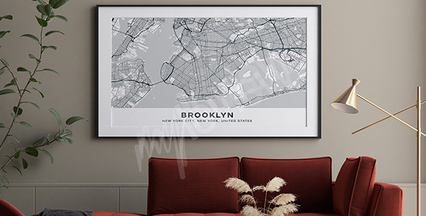 Poster carte de Brooklyn