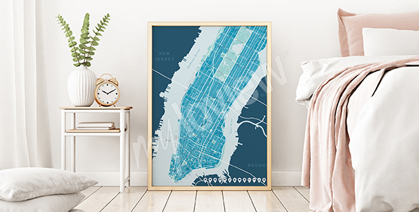 Poster carte de l'Upper Manhattan