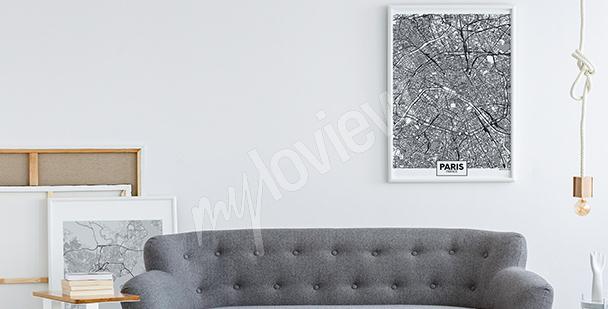 Poster cartographie en noir et blanc