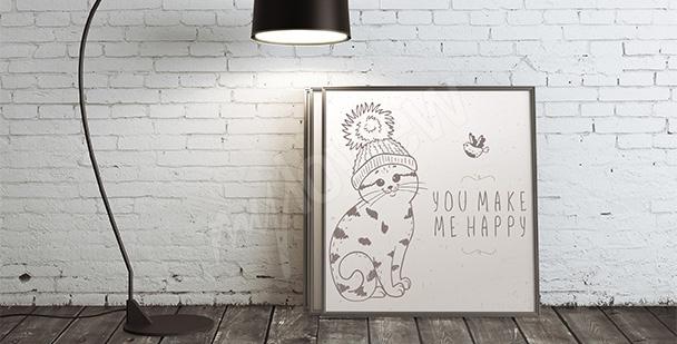 Poster chat avec un bonnet
