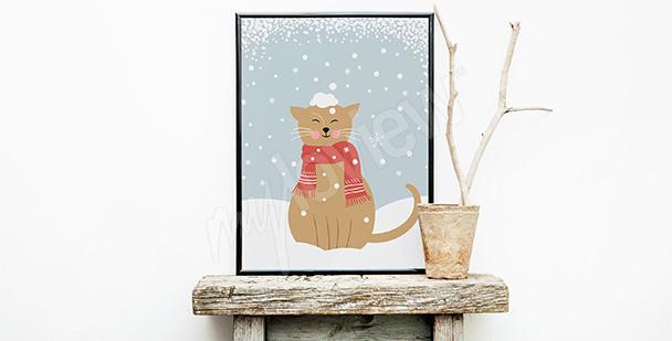 Poster chat dans la neige