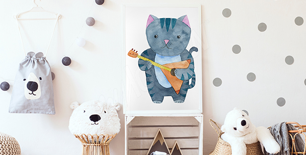 Poster chat musicien pour d'enfant
