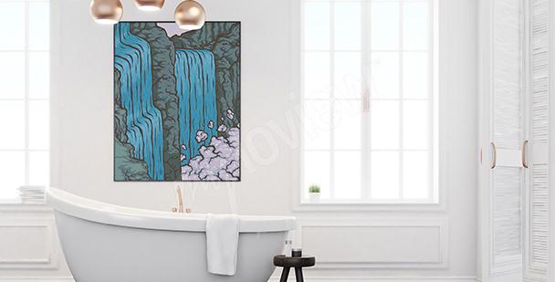 Poster chute d'eau pour salle de bains