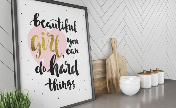 Poster citation motivante pour jeunes filles