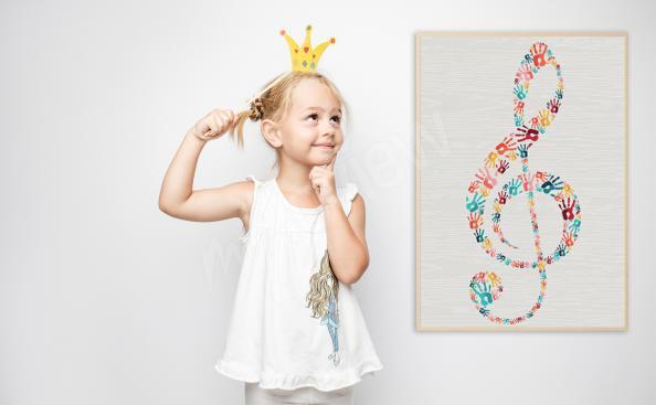 Poster clé de musique pour chambre d'enfant