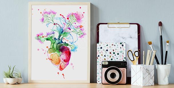 Poster cœur coloré