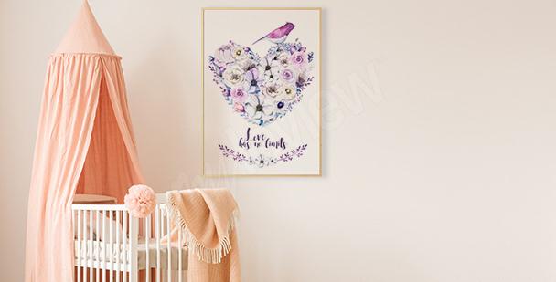 Poster cœur de fleurs