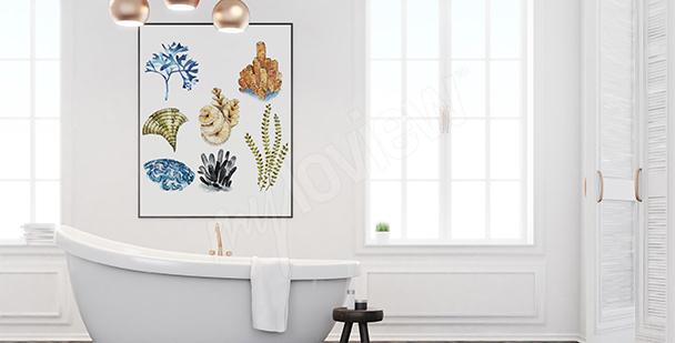 Poster corail pour la salle de bains