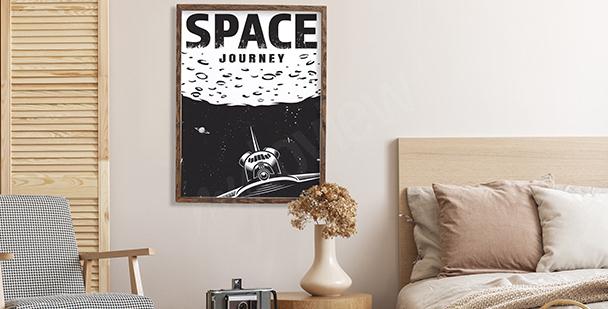 Poster cosmos noir et blanc