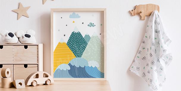 Poster de montagnes colorées