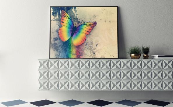 Poster avec un papillon arc en cie