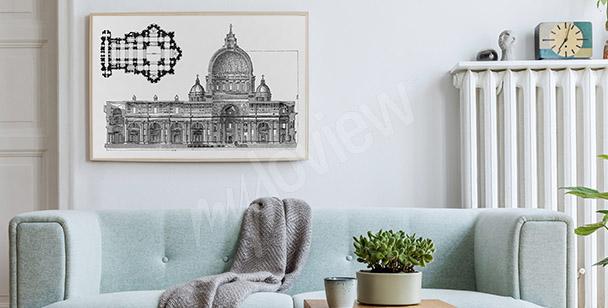 Poster dessin architecture romaine
