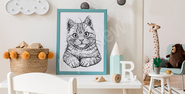 Poster dessin chat