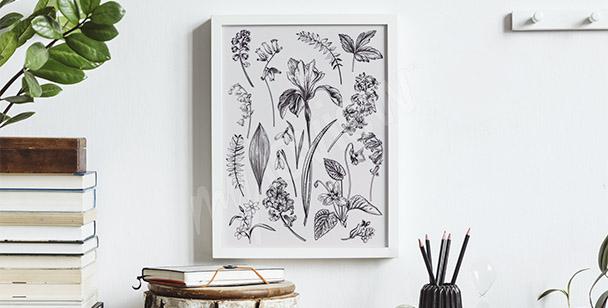 Poster dessin de fleurs