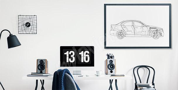 Poster dessin de voiture