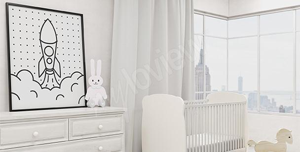 Poster enfant en noir et blanc