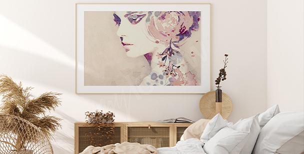 Poster féminin aux couleurs délicates