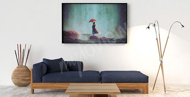 Poster femme au bord d'une falaise