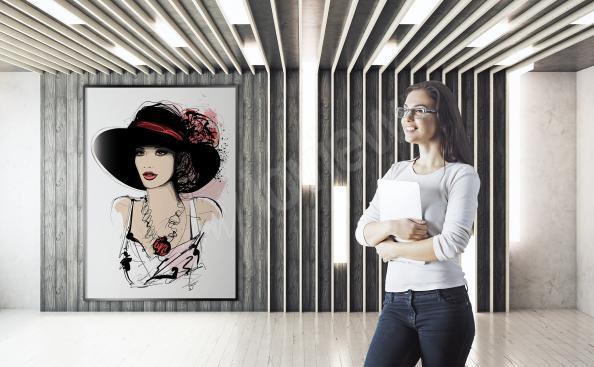 Poster femme chic portant un chapeau