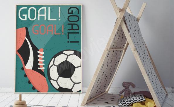 Poster football dans un style rétro