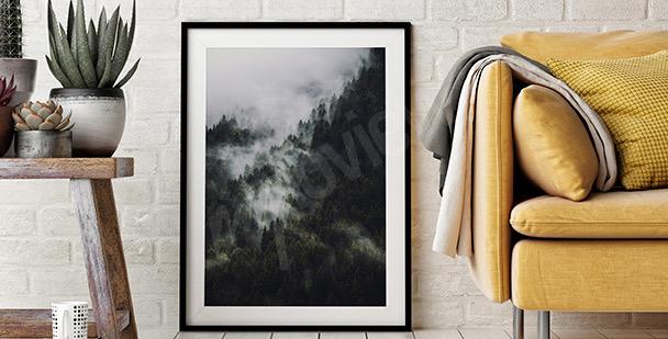 Poster montagnes et forêt