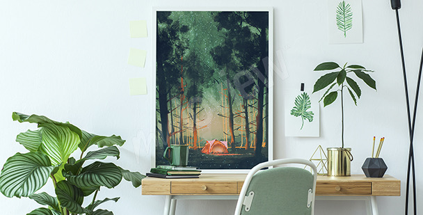 Poster forêt de nuit