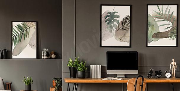 Poster géométrique avec des feuilles