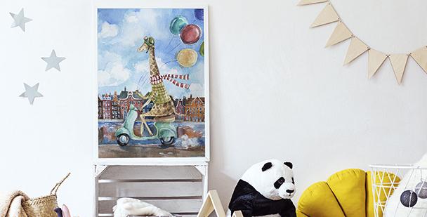 Poster girafe sur un scooter